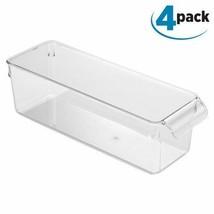 Utility Organizer Bin 4 Pack Clear Kitchen Bins Pantry Cabinet Storage NEW - $56.47