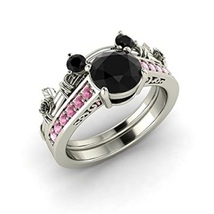 Black CZ Diamond & Pink Sapphire 14K White GP Mickey Mouse Engagement Ring Set - $92.99