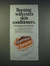 1990 Jergens Vitamin E & Lanolin Skin Conditioning Bar Ad - Bursting wit... - $14.99