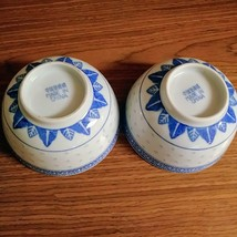 """2 Vintage Chinese Blue & White Rice Eyes Flower Pattern Bowls 4 ½"""" wide X 2 /5/8 image 2"""