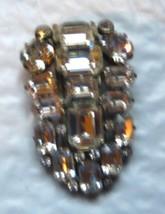 Eisenberg Original large clear rhinestone dress clip marked - $79.19