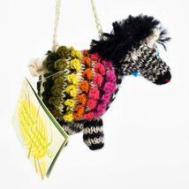 Handknit Alpaca Wool Whimsical Hanging Zebra Ornament Handmade in Peru image 5