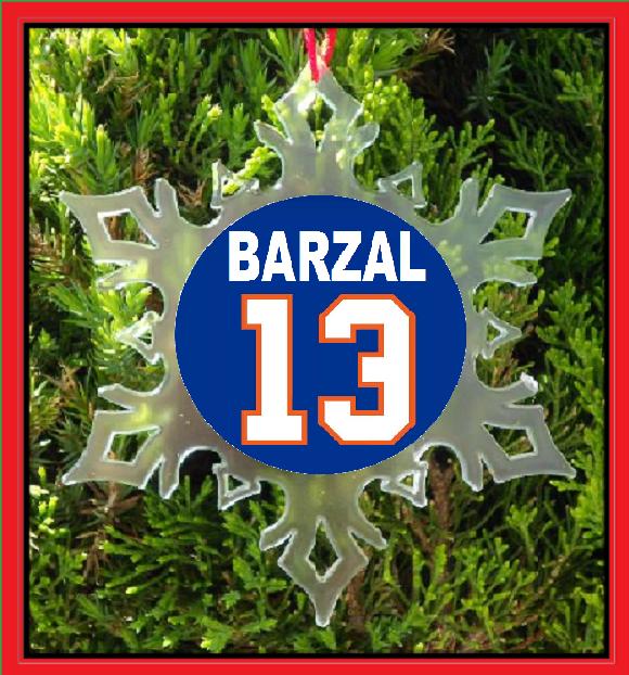 BARZAL JERSEY CHRISTMAS ORNAMENT - X-MAS SNOWFLAKE - NEW YORK HOCKEY - $12.95