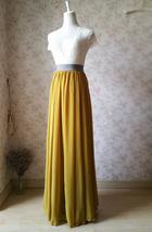 Yellow Rust Maxi Chiffon Skirt Outfit Floor Length Bridesmaid Chiffon Skirt image 5