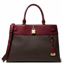 Michael Kors Gramercy Large Logo Satchel in Oxblood - $257.40
