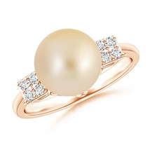 9mm Golden South Sea Cultured Pearl Cluster Diamond Ring 14K Gold/ Silver - $344.33+