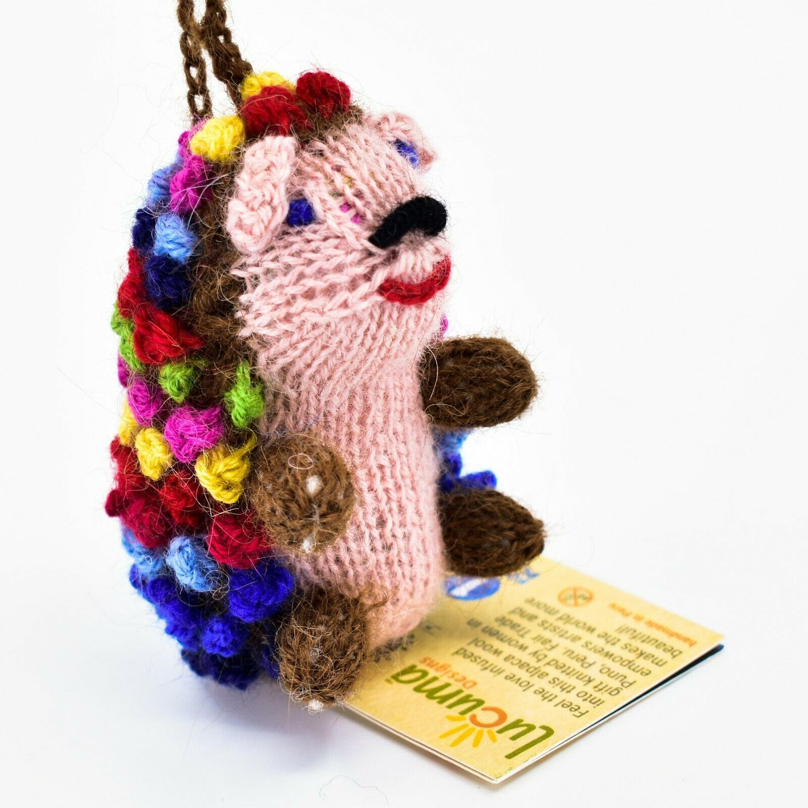 Handknit Alpaca Wool Whimsical Hanging Porcupine Ornament Handmade in Peru
