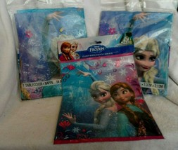 "Disney Frozen party supplies - 2 plastic table covers 54"" x 84"" + 8 loot bags - $10.50"