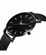 Men Trendy Ultra Thin Minimalist Watch Slim Mesh Strap Stainless Steel Q... - $12.68