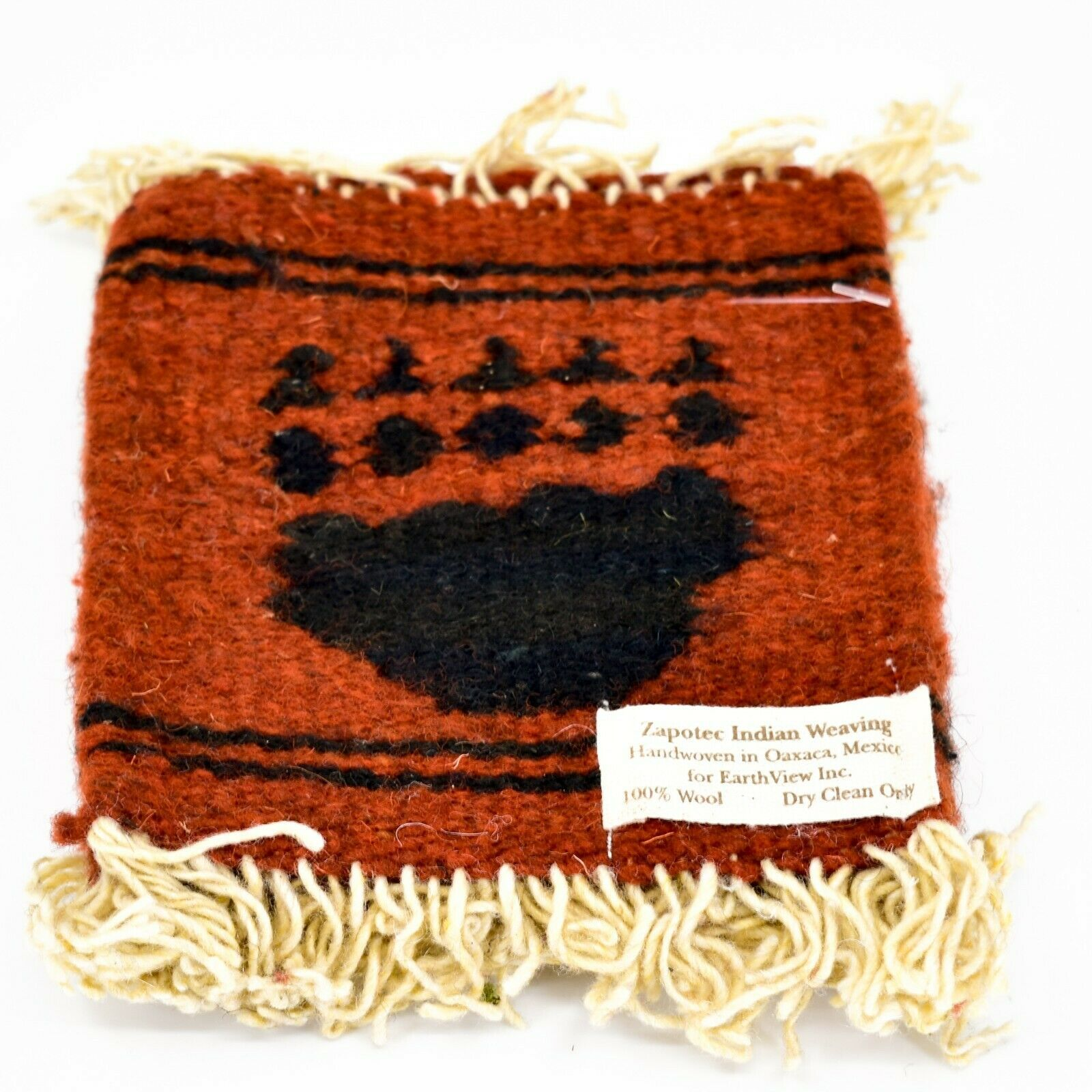 Handmade Zapotec Indian Weaving Hand-Woven Bear Paw Red Wool Coaster Set of 4
