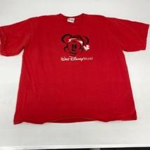 Walt Disney Mickey Mouse T Shirt Men's 2XL XXL Short Sleeve Red Christmas - $17.99