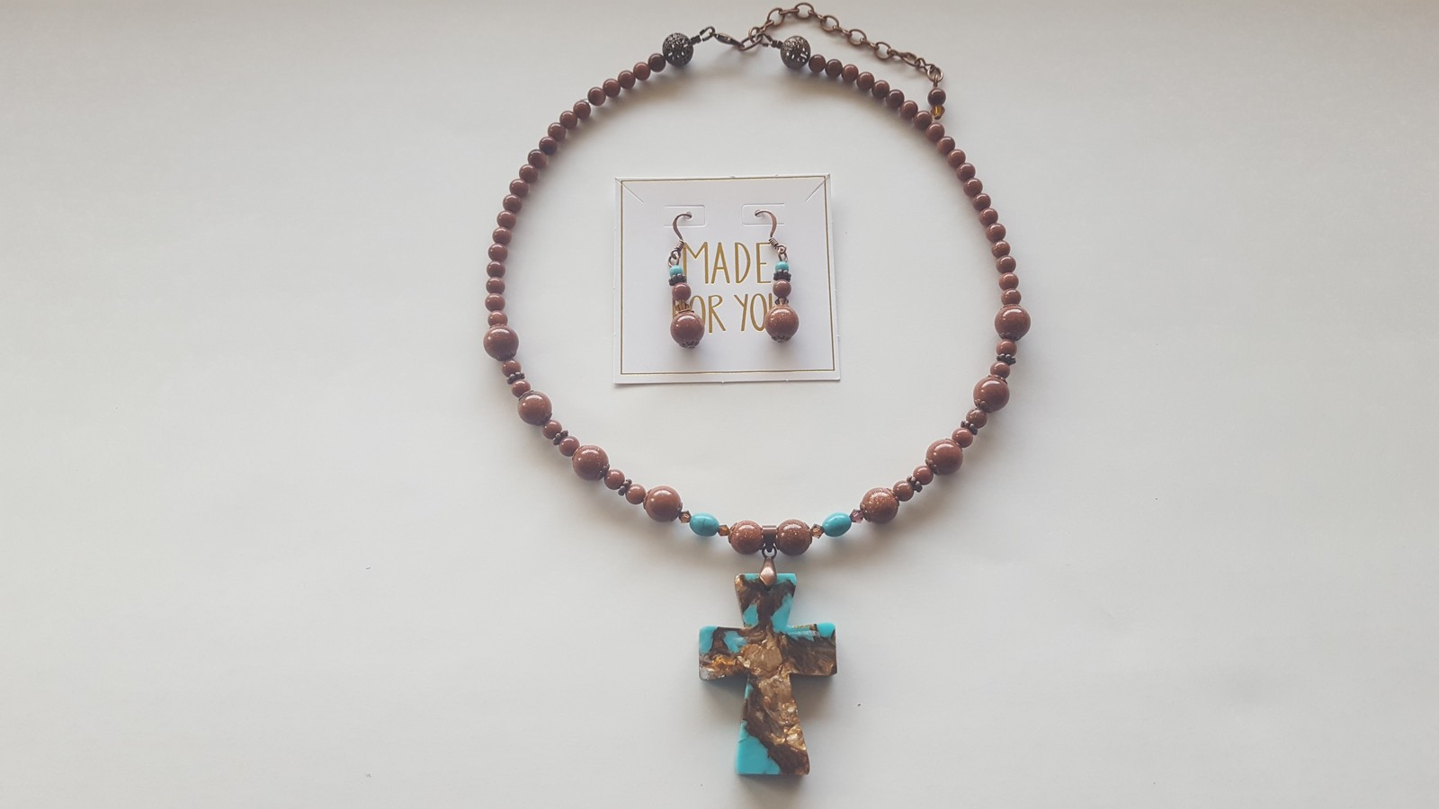 NEW Cross Pendant on Gold Sandstone Necklace with matching Earrings