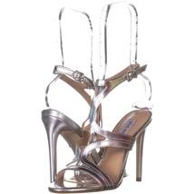 Steve Madden Sidney Ankle Strap Heeled Sandals 803, Silver, 5.5 US - $36.47
