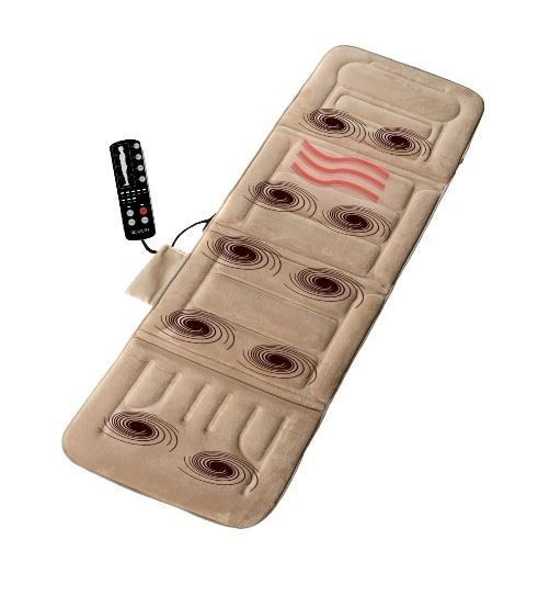 Full Body Massage Mat Vibrating Cushion Extra Foam Lumbar Heat Pad Back Pain NEW
