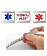 Medical Alert Red And Blue Star Of Life Caduceus 9mm Italian Charm ID Br... - $16.82
