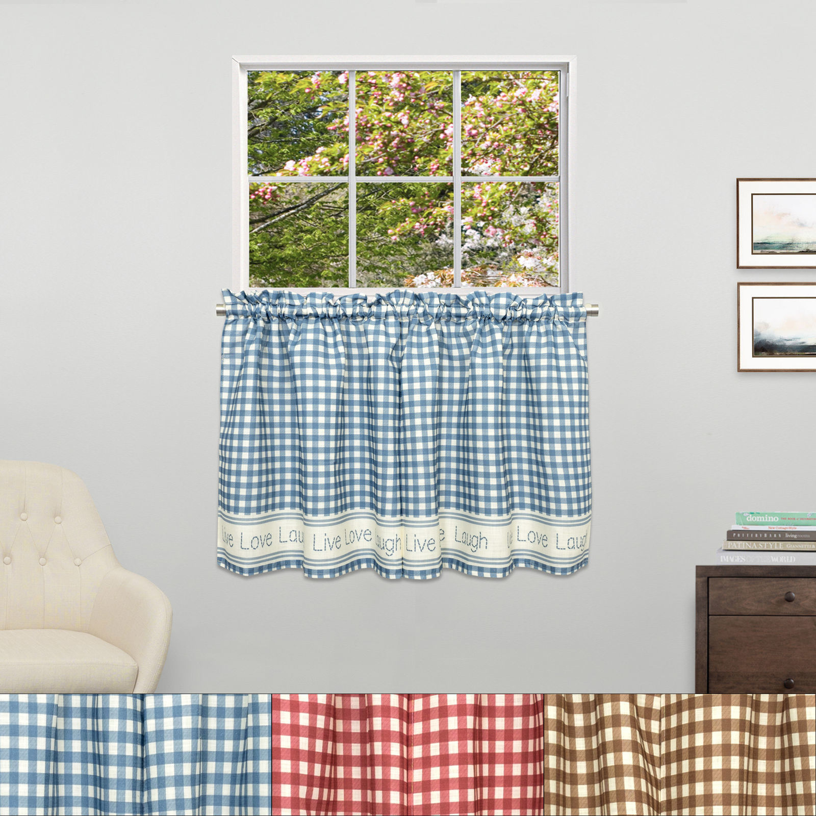 "Primary image for Gingham Stitch Live Laugh Love Kitchen Curtain Tier Pair 24""x50"""
