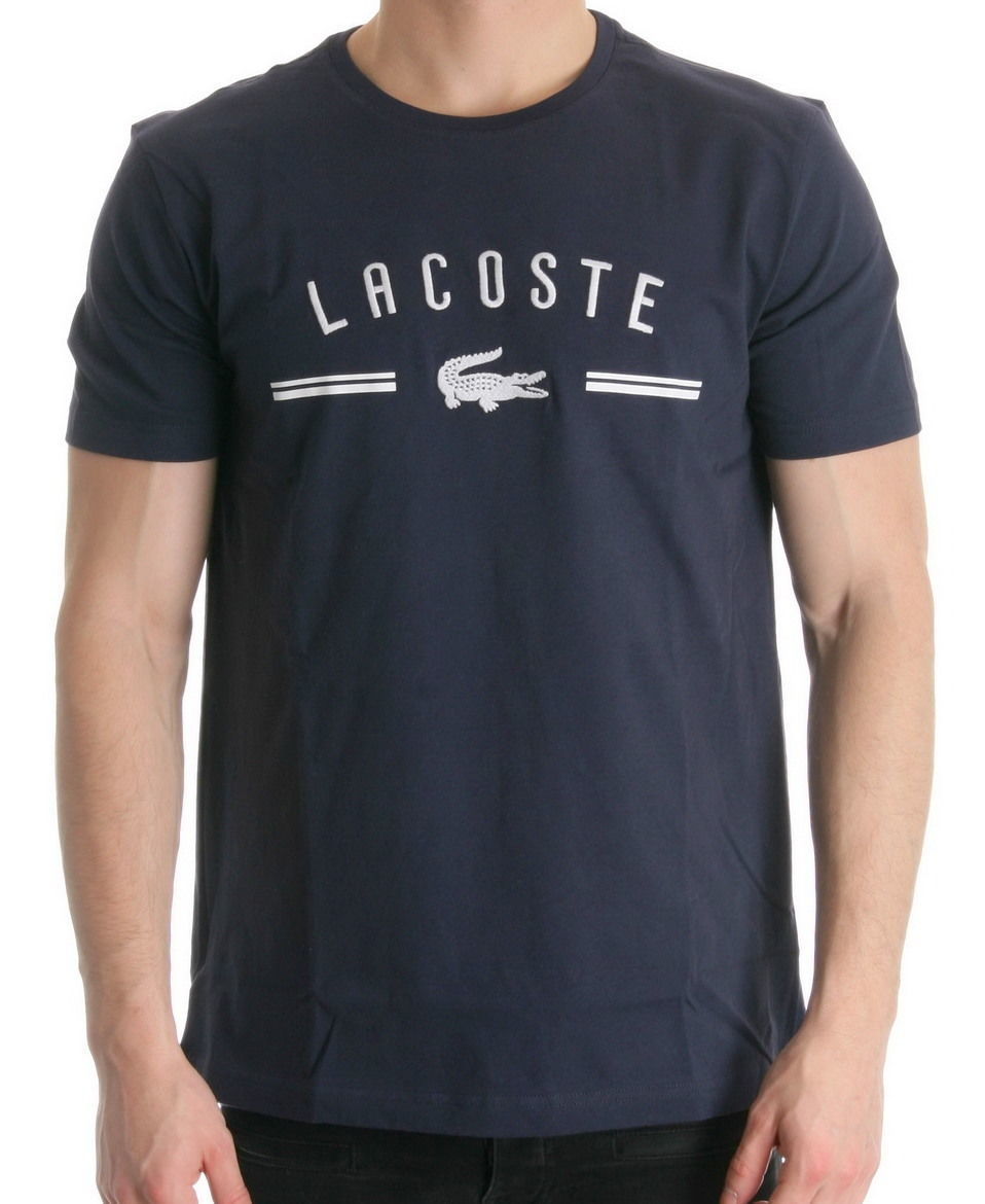 BRAND NEW LACOSTE LOGO MEN'S PREMIUM COTTON CREW NECK SHIRT T-SHIRT NAVY BLUE