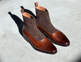 Handmade Men's Two Tone Chelsea Lace Up Brogue Toe Cap Ankle Marching Boots - €194,41 EUR - €231,45 EUR