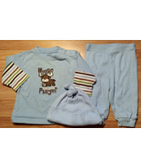 "Boy's Size 3 M 0-3 Months 3 Piece Carter's Blue ""Moose Valuable Player"" ... - $16.00"