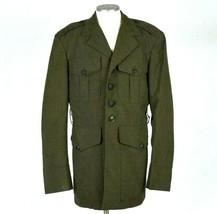 Vtg 1980 Tropical Poly Wool Green Shade 2241 Coat Army Field Jacket Mens 35 XS - $28.70