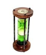 Brass Nautical Marine Hourglass Antique Green LIQUID Sand Timer Desk Acc... - £29.15 GBP