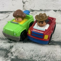 Fisher Price Little People Wheelies Cars Lot Of 2 Cowboy Tow Truck - $11.88