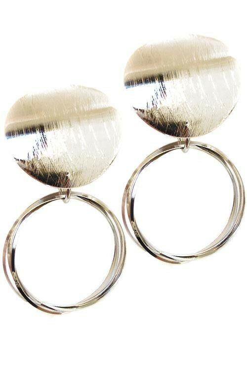 Primary image for WOMEN'S FASHION JEWELRY METAL POST EARRINGS SILVER NEW NEVER WORN