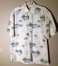 Campia Moda Aloha Hawaiian Shirt 100% Cotton Short Sleeve Fly Fishing Me... - $14.84