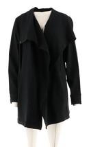 H Halston Open Front Drape Collar Knit Jacket Black XS NEW A278975 - $23.73