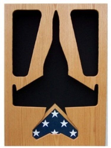 Primary image for AIR FORCE MCDONNELL DOUGLAS HORNET AWARD WOOD SHADOW BOX MEDAL DISPLAY CASE