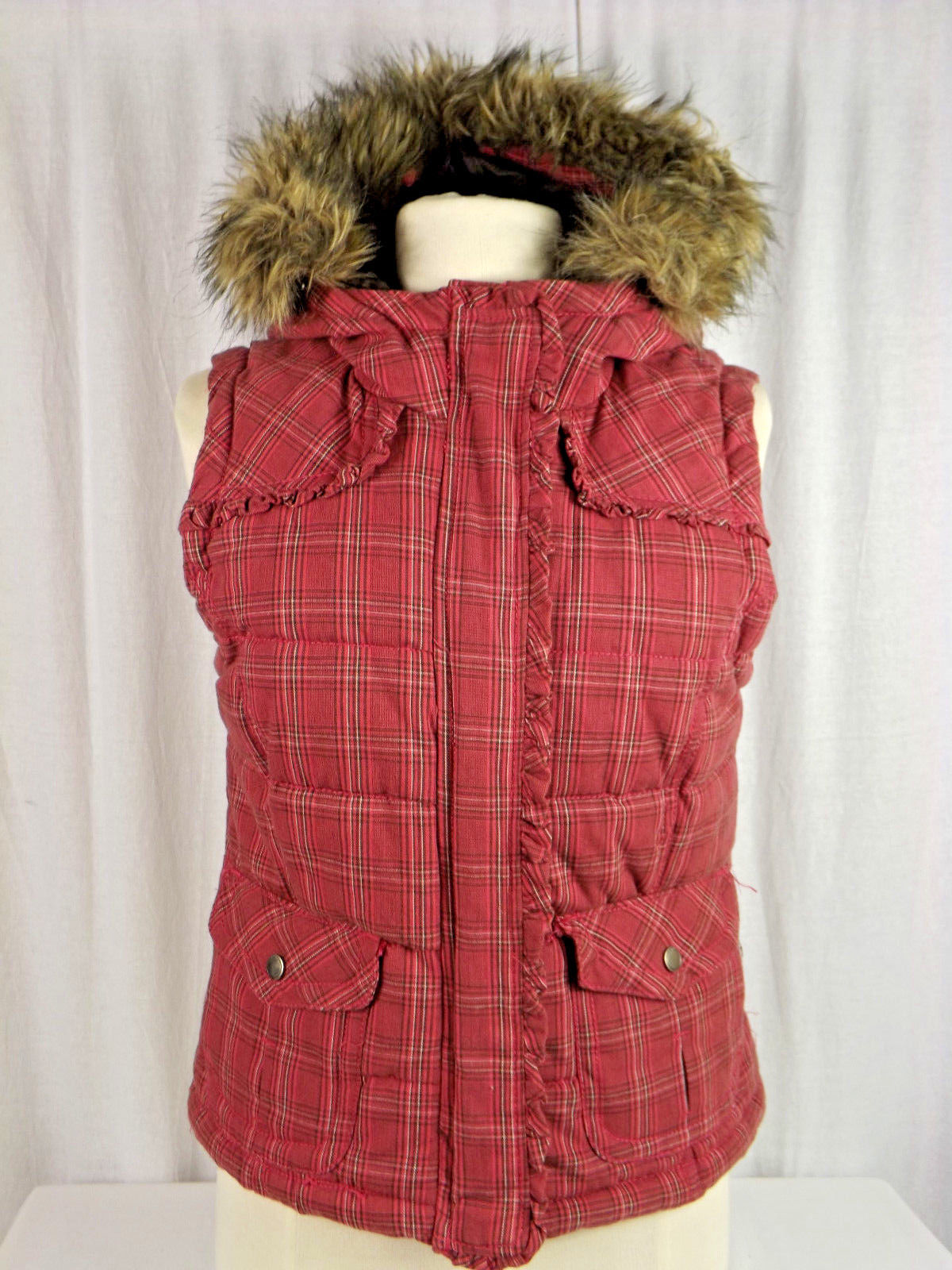 Primary image for Aeropostale Fur Plaid Faux Fur Hooded Puffer Vest Size M / Medium