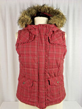 Aeropostale Fur Plaid Faux Fur Hooded Puffer Vest Size M / Medium  - $9.99