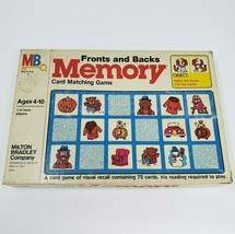 Vintage 1980 Memory Fronts And Backs Matching Card Game In Box Almost Complete - $44.88