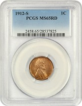1912-S 1c PCGS MS65 RD - Tough Red! - Lincoln Cent - Tough Red! - $1,649.00