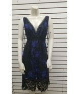 Elie Tahari Pearl Lace Dress black and midnight blue size S - $147.51