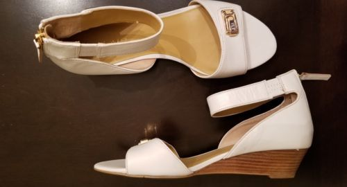 Primary image for NEW $49 NINE WEST White Leather Heel Zip Low Wood Wedge Heels 8 M Ankle Strap