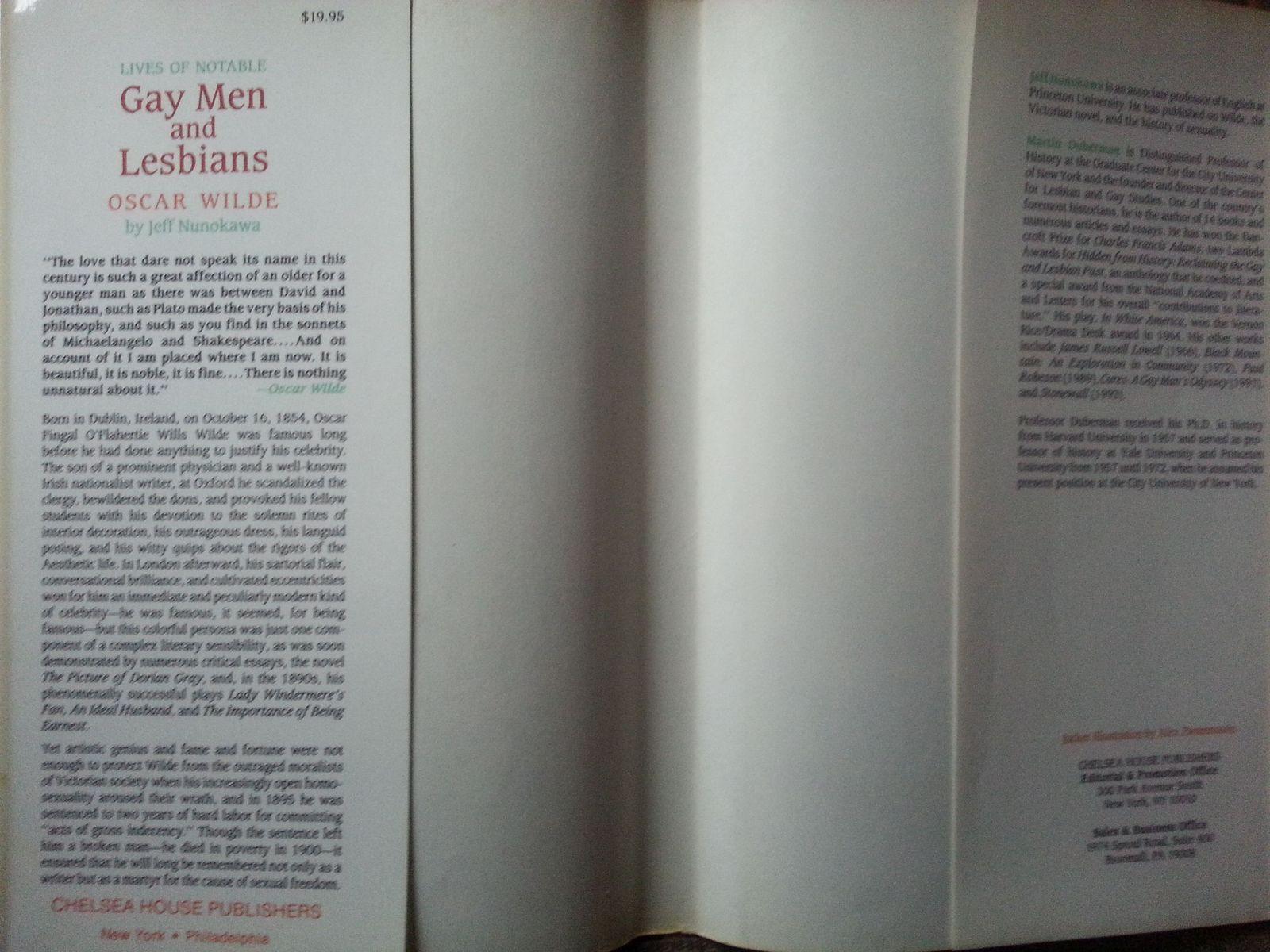 Gay Men and Lesbians Oscar Wilde by Jeff Nunokawa 1995 hbdj