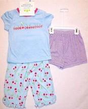 NEW Carter's Girl's 3 Pc. Blue Cherries Pajamas Pajama Set, 18 Mos. - $11.99