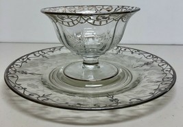 MS36d Art Nouveau Sterling Silver Overlay Floral cut glass Chip Dip Tray... - $97.01