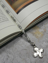 Cross Glass Pearl Rhinestone Crystal Handmade Beaded Bookmark White Grey... - $17.45