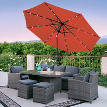 Orange Patio Umbrella With Solar Led Lights For Garden Poolside Aluminum... - $117.34 CAD