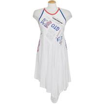FREE PEOPLE White Batter Up Asymmetrical Cotton Jersey Mini Dress M - $69.99