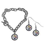 steelers chain bracelet and dangle earring set default title jademoghul 3656869019752 thumbtall