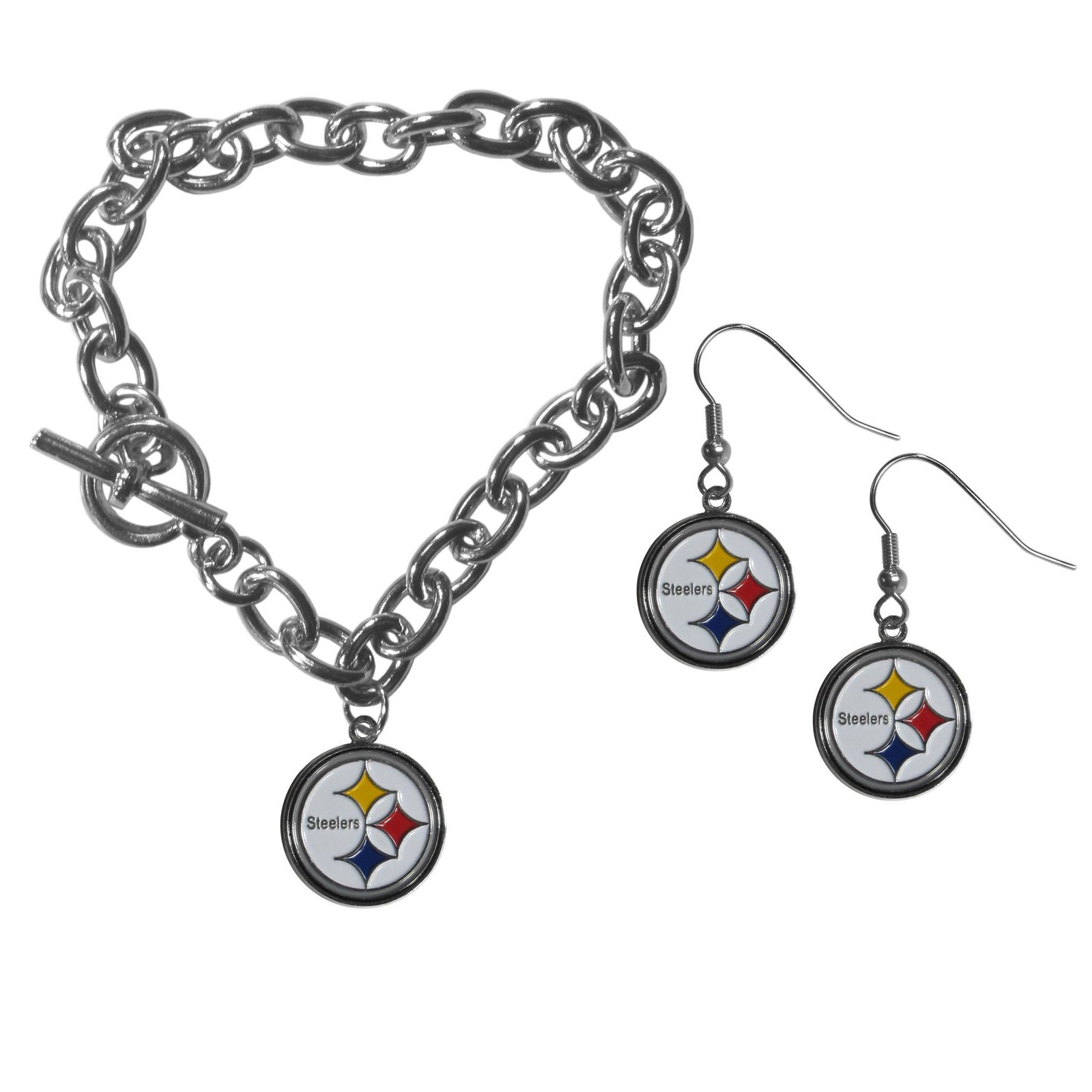 Pittsburgh steelers chain bracelet and dangle earring set default title jademoghul 3656869019752