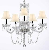 Murano Venetian Style All-Crystal Chandelier with White Shades w/Chrome Sleeves  - $148.94