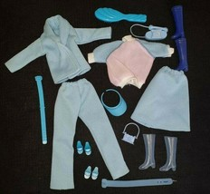 VINTAGE BARBIE ACCESSORIES LOT BLUE CLOTHING JACKET SHOES BOOTS BRUSH BE... - $11.30