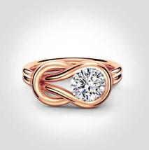 14k Rose Gold Plated 925 Silver Womens Loop Knot Stye Ring Round Cut Sim... - $68.50