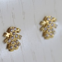 18K YELLOW GOLD EARRINGS WITH MINI GIRL GIRLS & ZIRCONIA, MADE IN ITALY image 2