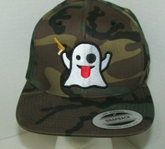 Camo trucker Hat Cap ghost tongue out holding gun Yupoong snapback adjus... - $14.84