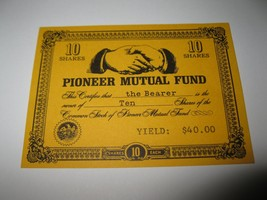 1964 Stocks & Bonds 3M Bookshelf Board Game Piece: Pioneer Mutual 10 Shares - $1.00